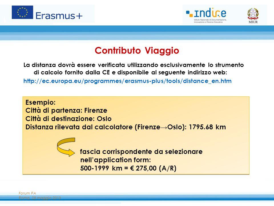 Forum PA Roma, 28 maggio 2013 Contributo Viaggio La distanza dovrà essere verificata utilizzando esclusivamente lo strumento di calcolo fornito dalla