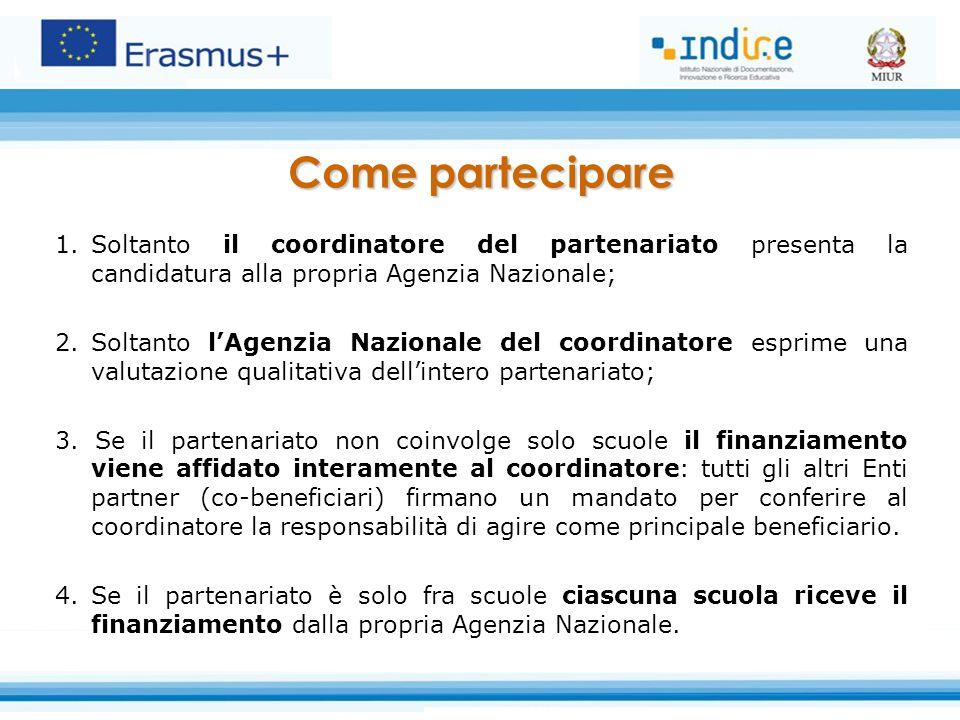 1.Soltanto il coordinatore del partenariato presenta la candidatura alla propria Agenzia Nazionale; 2.Soltanto l'Agenzia Nazionale del coordinatore es