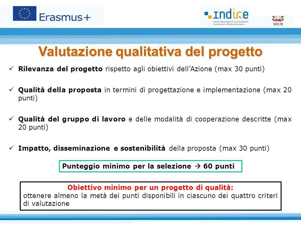 Rilevanza del progetto rispetto agli obiettivi dell'Azione (max 30 punti) Qualità della proposta in termini di progettazione e implementazione (max 20