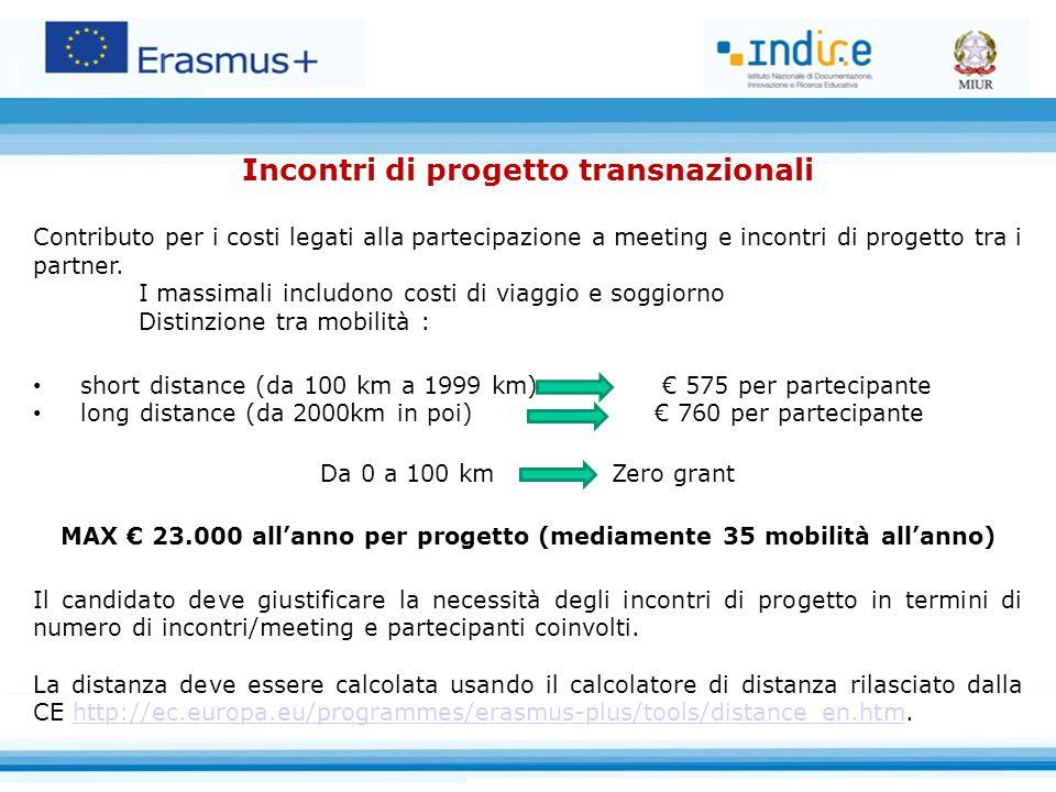Incontri di progetto transnazionali Contributo per i costi legati alla partecipazione a meeting e incontri di progetto tra i partner.