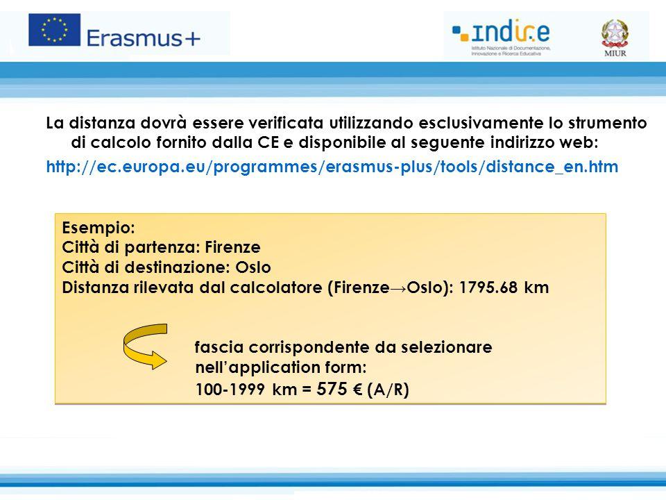 La distanza dovrà essere verificata utilizzando esclusivamente lo strumento di calcolo fornito dalla CE e disponibile al seguente indirizzo web: http: