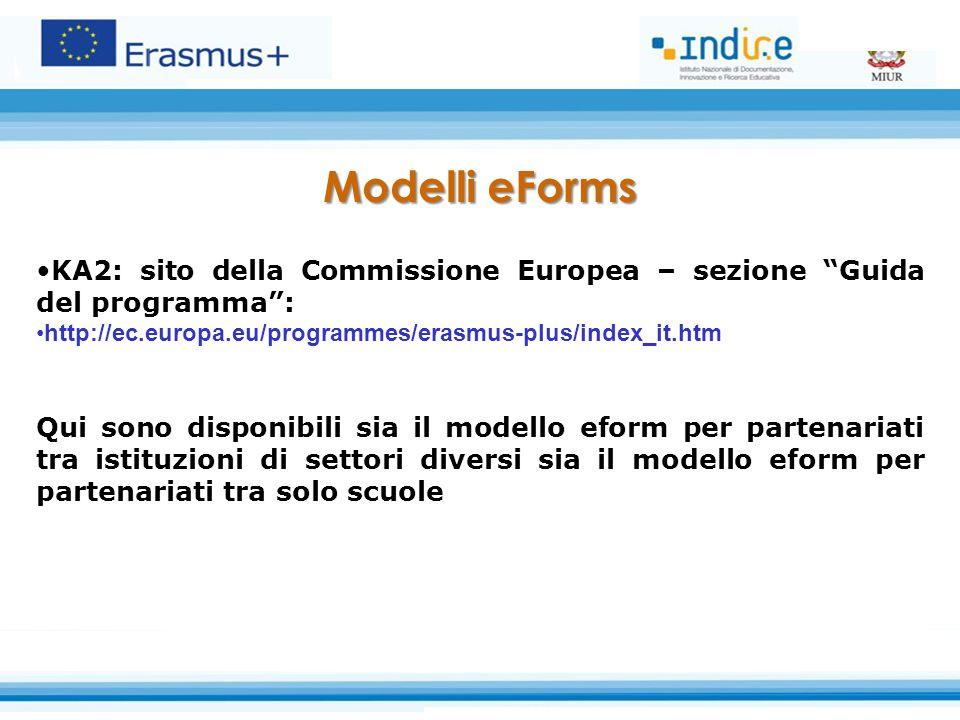 Modelli eForms KA2: sito della Commissione Europea – sezione Guida del programma : http://ec.europa.eu/programmes/erasmus-plus/index_it.htm Qui sono disponibili sia il modello eform per partenariati tra istituzioni di settori diversi sia il modello eform per partenariati tra solo scuole