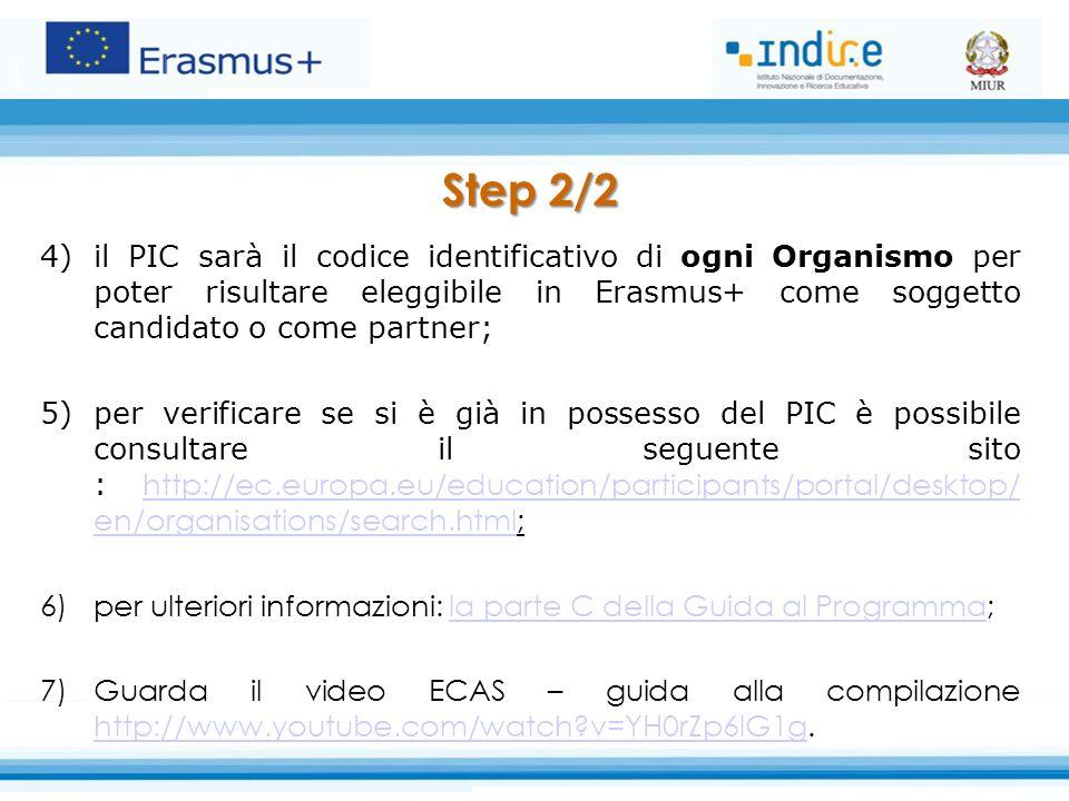 Step 2/2 4)il PIC sarà il codice identificativo di ogni Organismo per poter risultare eleggibile in Erasmus+ come soggetto candidato o come partner; 5