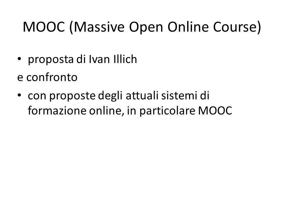 proposta di Ivan Illich e confronto con proposte degli attuali sistemi di formazione online, in particolare MOOC
