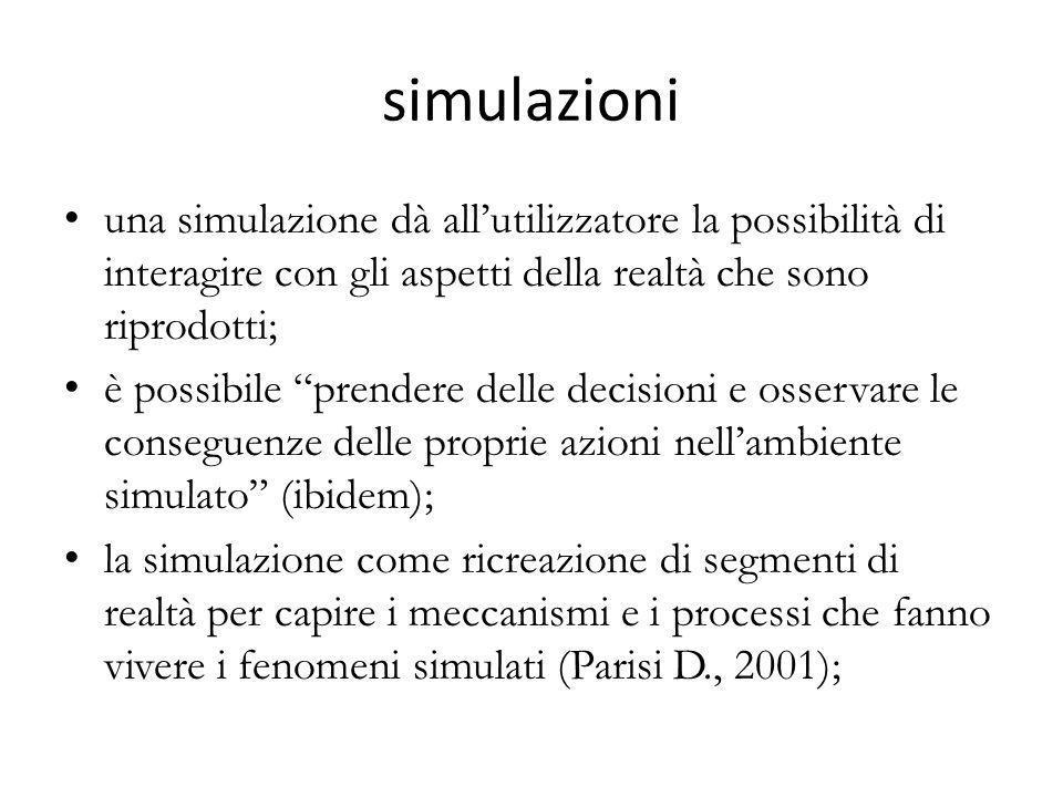 """simulazioni una simulazione dà all'utilizzatore la possibilità di interagire con gli aspetti della realtà che sono riprodotti; è possibile """"prendere d"""