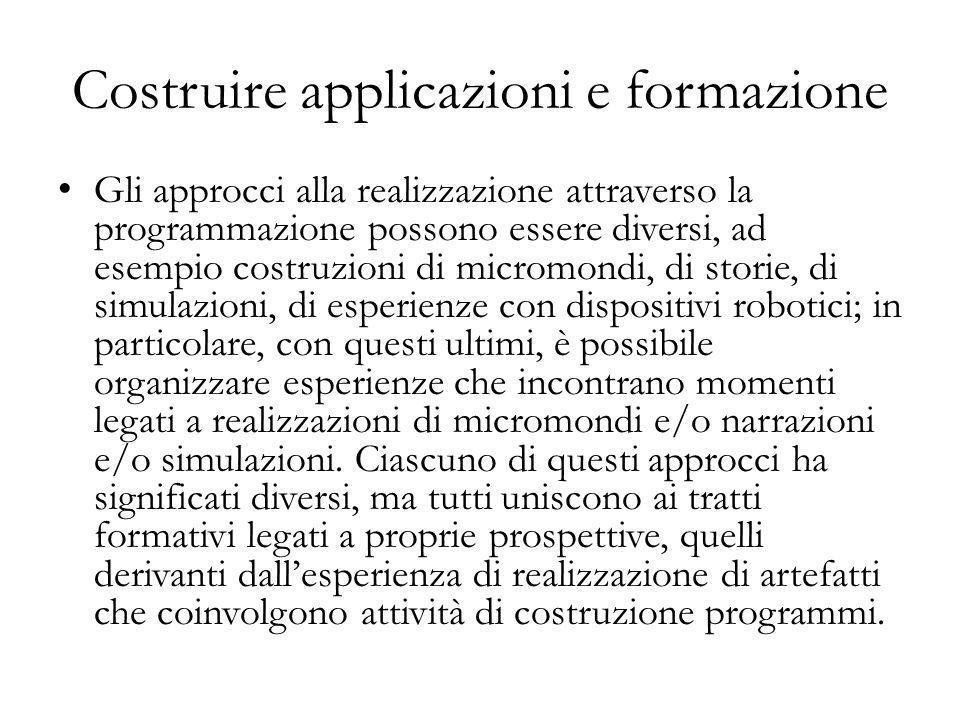 Gli approcci alla realizzazione attraverso la programmazione possono essere diversi, ad esempio costruzioni di micromondi, di storie, di simulazioni,