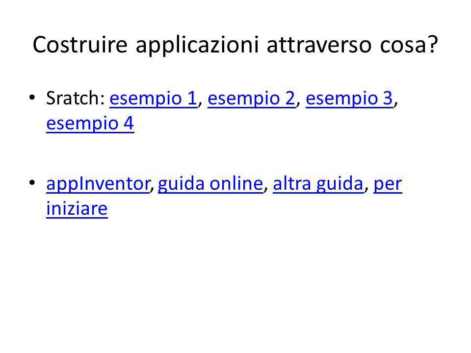 Costruire applicazioni attraverso cosa? Sratch: esempio 1, esempio 2, esempio 3, esempio 4esempio 1esempio 2esempio 3 esempio 4 appInventor, guida onl