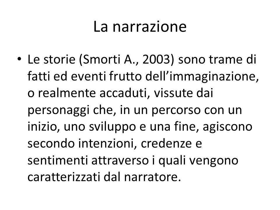 La narrazione Le storie (Smorti A., 2003) sono trame di fatti ed eventi frutto dell'immaginazione, o realmente accaduti, vissute dai personaggi che, i