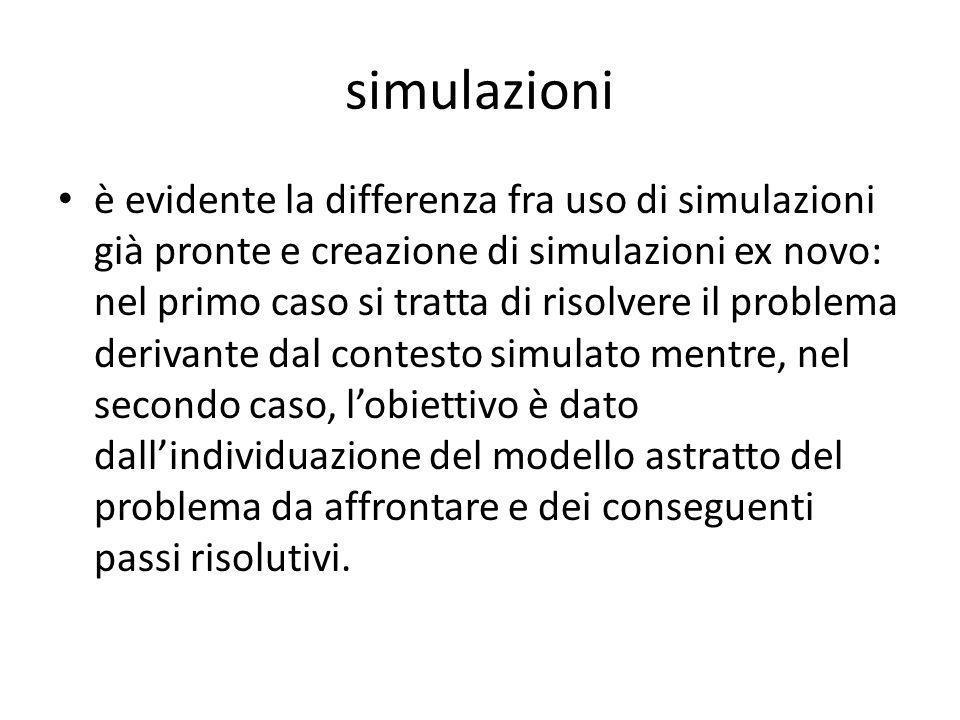 simulazioni è evidente la differenza fra uso di simulazioni già pronte e creazione di simulazioni ex novo: nel primo caso si tratta di risolvere il pr