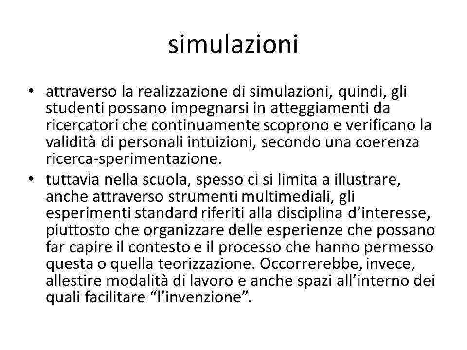 simulazioni attraverso la realizzazione di simulazioni, quindi, gli studenti possano impegnarsi in atteggiamenti da ricercatori che continuamente scop