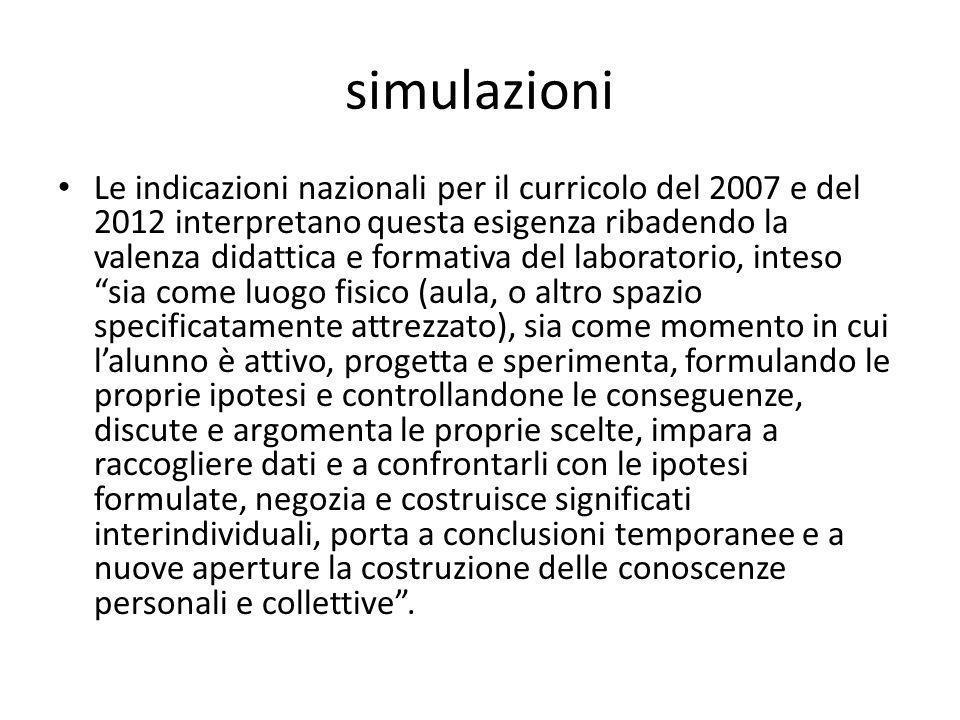 simulazioni Le indicazioni nazionali per il curricolo del 2007 e del 2012 interpretano questa esigenza ribadendo la valenza didattica e formativa del