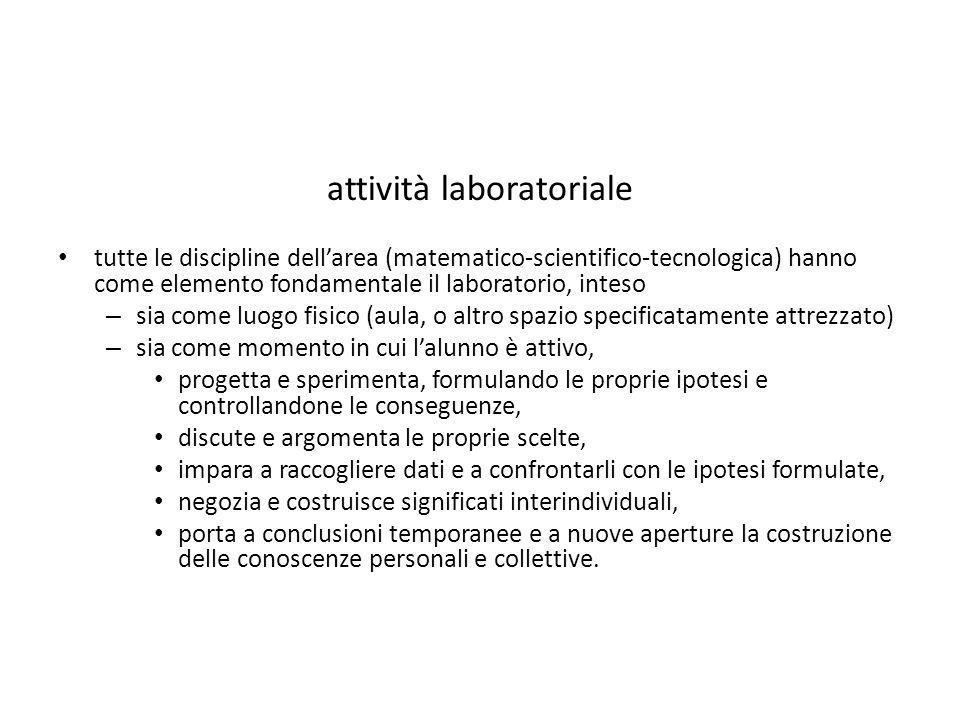 attività laboratoriale tutte le discipline dell'area (matematico-scientifico-tecnologica) hanno come elemento fondamentale il laboratorio, inteso – si