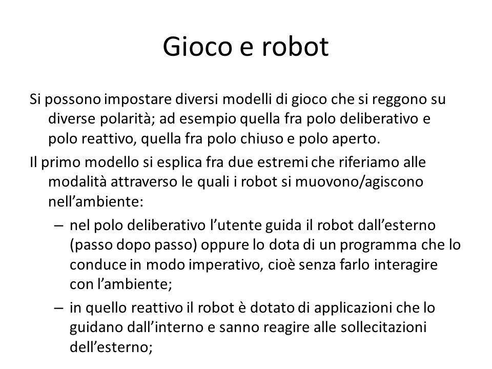 Gioco e robot Si possono impostare diversi modelli di gioco che si reggono su diverse polarità; ad esempio quella fra polo deliberativo e polo reattiv