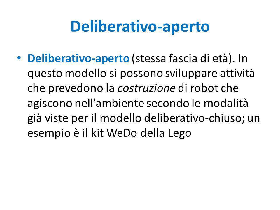 Deliberativo-aperto Deliberativo-aperto (stessa fascia di età). In questo modello si possono sviluppare attività che prevedono la costruzione di robot
