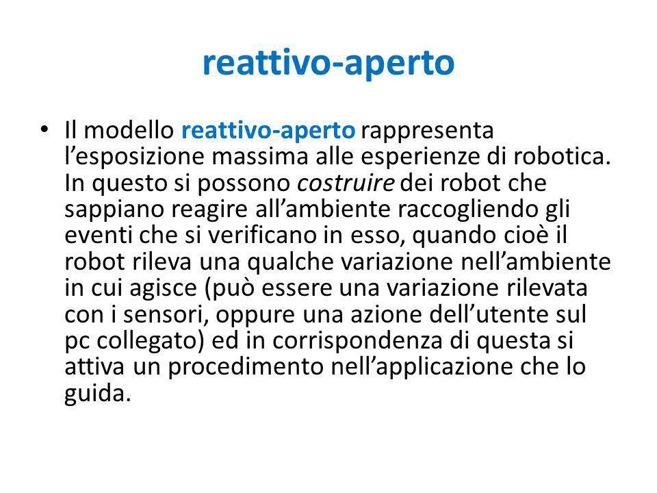 reattivo-aperto Il modello reattivo-aperto rappresenta l'esposizione massima alle esperienze di robotica. In questo si possono costruire dei robot che