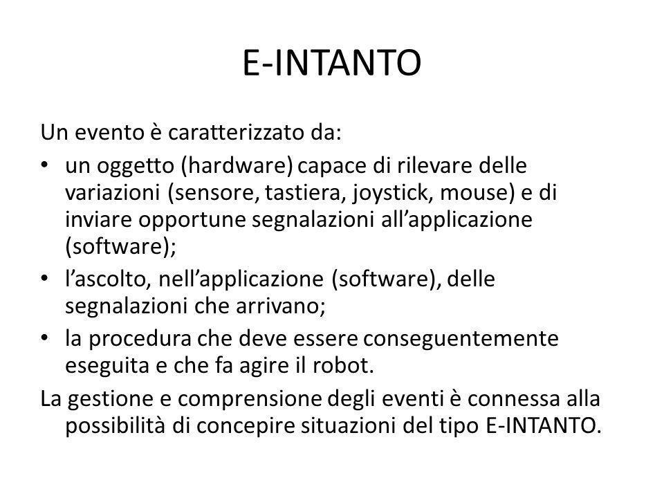 E-INTANTO Un evento è caratterizzato da: un oggetto (hardware) capace di rilevare delle variazioni (sensore, tastiera, joystick, mouse) e di inviare o