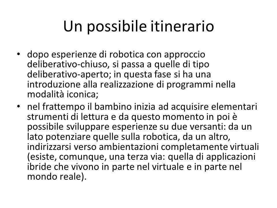 Un possibile itinerario dopo esperienze di robotica con approccio deliberativo-chiuso, si passa a quelle di tipo deliberativo-aperto; in questa fase s