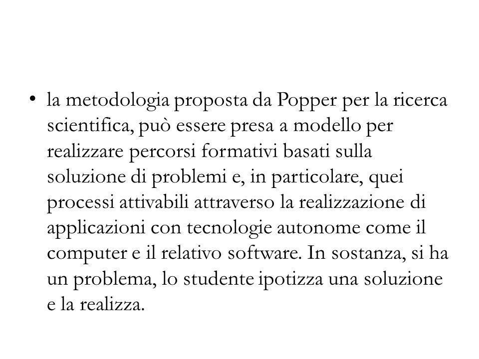 la metodologia proposta da Popper per la ricerca scientifica, può essere presa a modello per realizzare percorsi formativi basati sulla soluzione di p