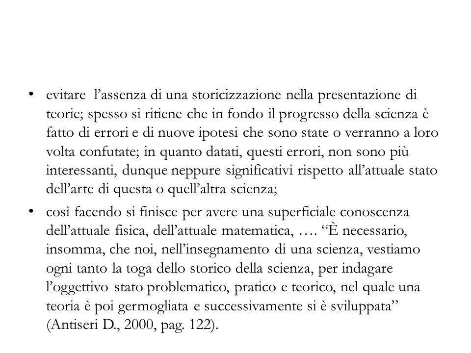 evitare l'assenza di una storicizzazione nella presentazione di teorie; spesso si ritiene che in fondo il progresso della scienza è fatto di errori e