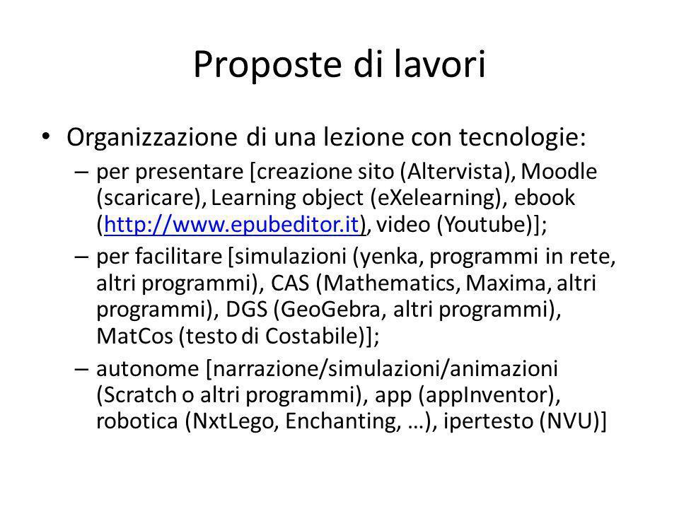 Proposte di lavori Organizzazione di una lezione con tecnologie: – per presentare [creazione sito (Altervista), Moodle (scaricare), Learning object (e