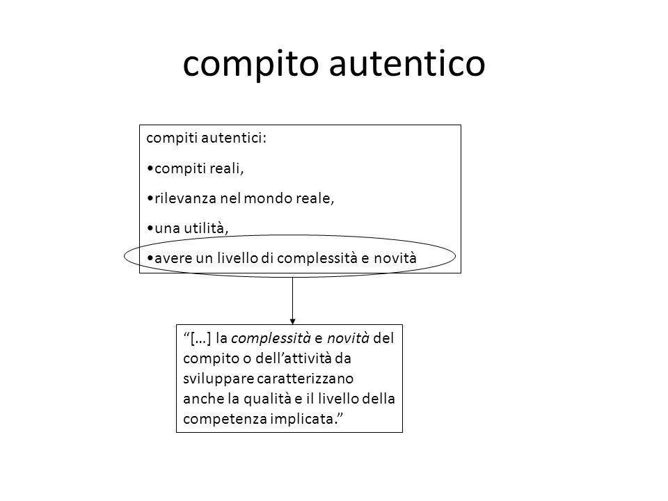"""compito autentico """"[…] la complessità e novità del compito o dell'attività da sviluppare caratterizzano anche la qualità e il livello della competenza"""