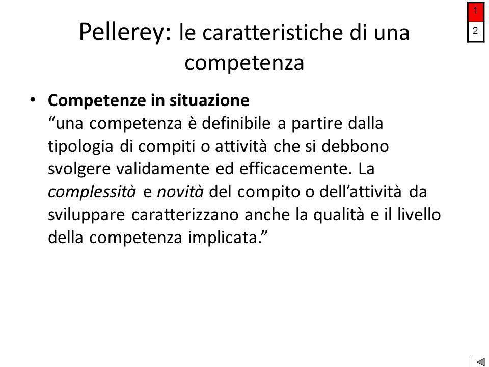 """Pellerey: le caratteristiche di una competenza Competenze in situazione """"una competenza è definibile a partire dalla tipologia di compiti o attività c"""