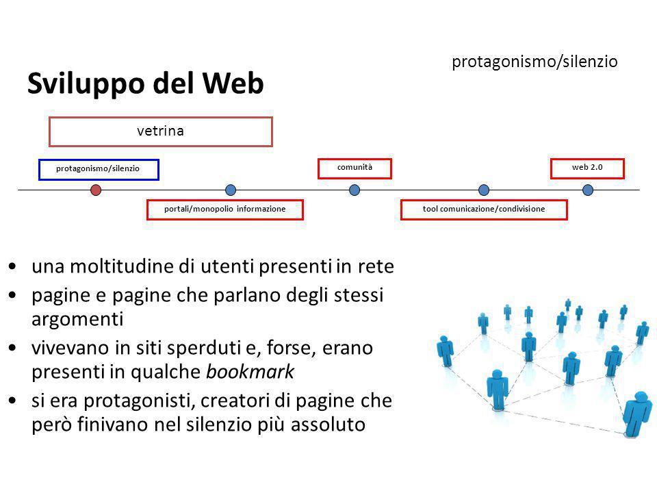 portali/monopolio informazione protagonismo/silenzio tool comunicazione/condivisione comunitàweb 2.0 Sviluppo del Web protagonismo/silenzio una moltit