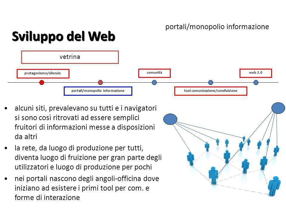 portali/monopolio informazione protagonismo/silenzio tool comunicazione/condivisione comunitàweb 2.0 Sviluppo del Web alcuni siti, prevalevano su tutt