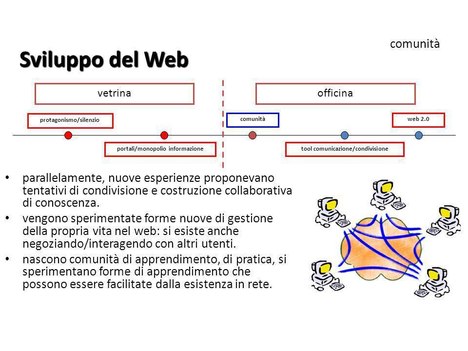 protagonismo/silenzio tool comunicazione/condivisione comunitàweb 2.0 Sviluppo del Web comunità parallelamente, nuove esperienze proponevano tentativi