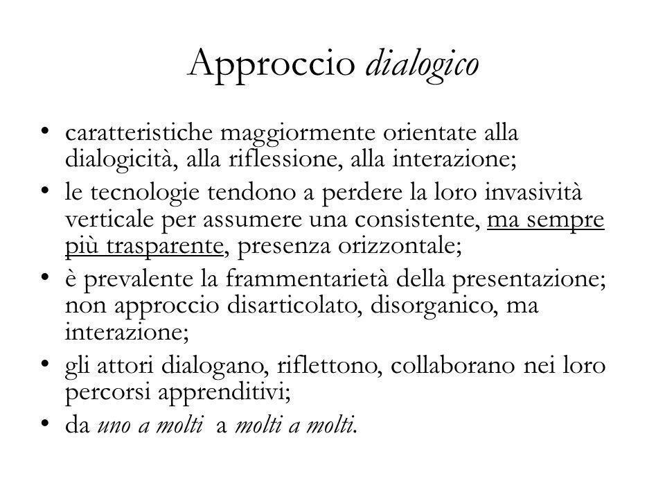 Approccio dialogico caratteristiche maggiormente orientate alla dialogicità, alla riflessione, alla interazione; le tecnologie tendono a perdere la lo