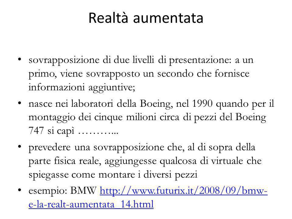 Realtà aumentata sovrapposizione di due livelli di presentazione: a un primo, viene sovrapposto un secondo che fornisce informazioni aggiuntive; nasce