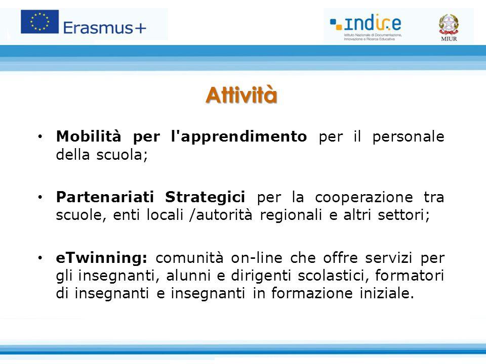 Attività Mobilità per l'apprendimento per il personale della scuola; Partenariati Strategici per la cooperazione tra scuole, enti locali /autorità reg