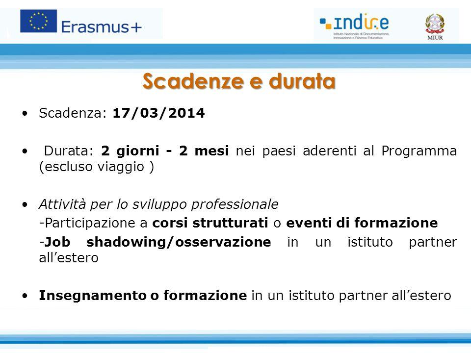 Scadenza: 17/03/2014 Durata: 2 giorni - 2 mesi nei paesi aderenti al Programma (escluso viaggio ) Attività per lo sviluppo professionale -Participazio