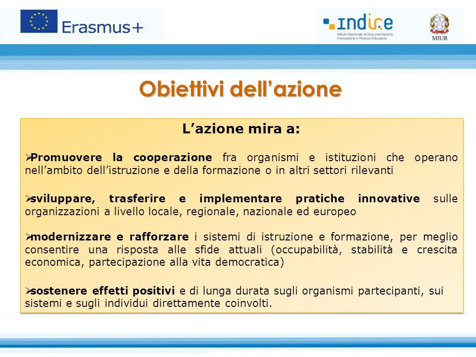 Obiettivi dell'azione L'azione mira a:  Promuovere la cooperazione fra organismi e istituzioni che operano nell'ambito dell'istruzione e della formaz