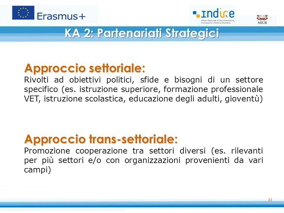 33 Approccio settoriale: Rivolti ad obiettivi politici, sfide e bisogni di un settore specifico (es. istruzione superiore, formazione professionale VE