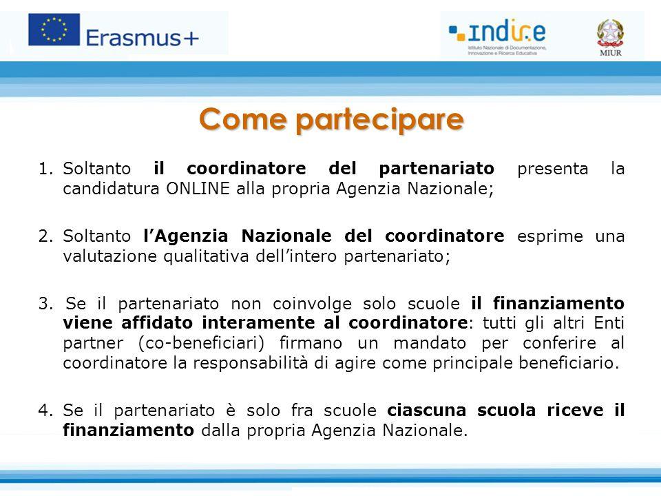 1.Soltanto il coordinatore del partenariato presenta la candidatura ONLINE alla propria Agenzia Nazionale; 2.Soltanto l'Agenzia Nazionale del coordina