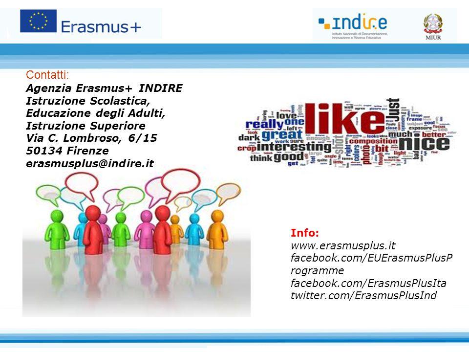 Contatti: Agenzia Erasmus+ INDIRE Istruzione Scolastica, Educazione degli Adulti, Istruzione Superiore Via C. Lombroso, 6/15 50134 Firenze erasmusplus