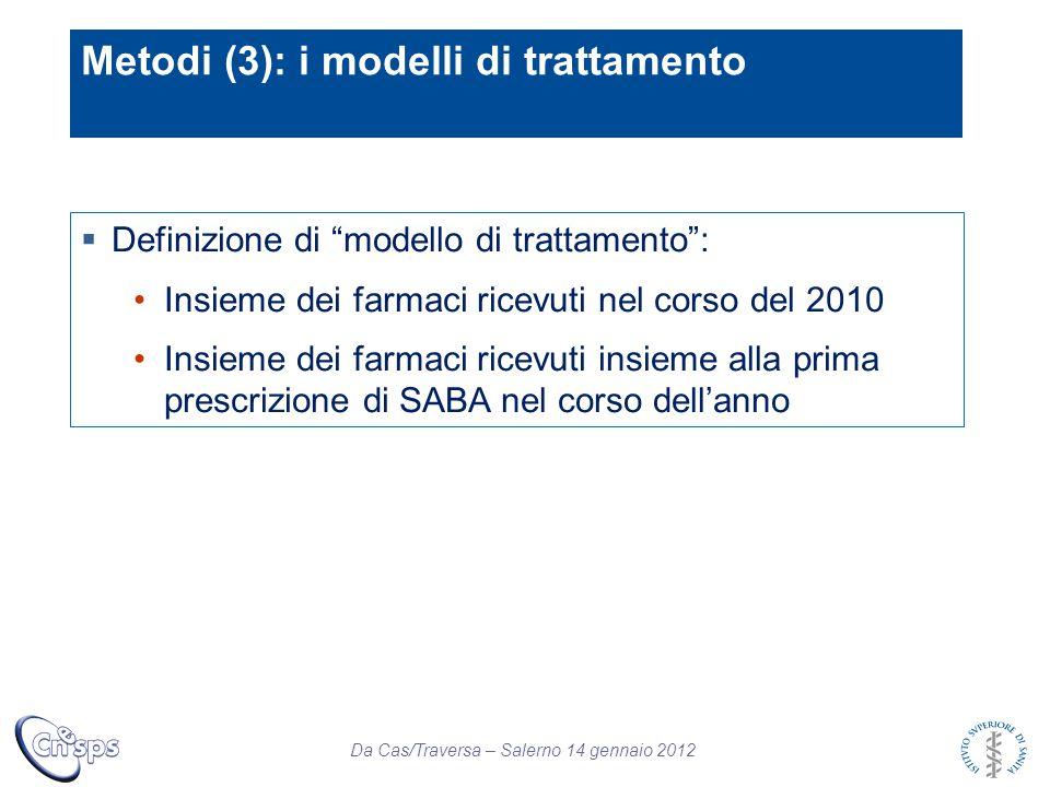 """Da Cas/Traversa – Salerno 14 gennaio 2012  Definizione di """"modello di trattamento"""": Insieme dei farmaci ricevuti nel corso del 2010 Insieme dei farma"""