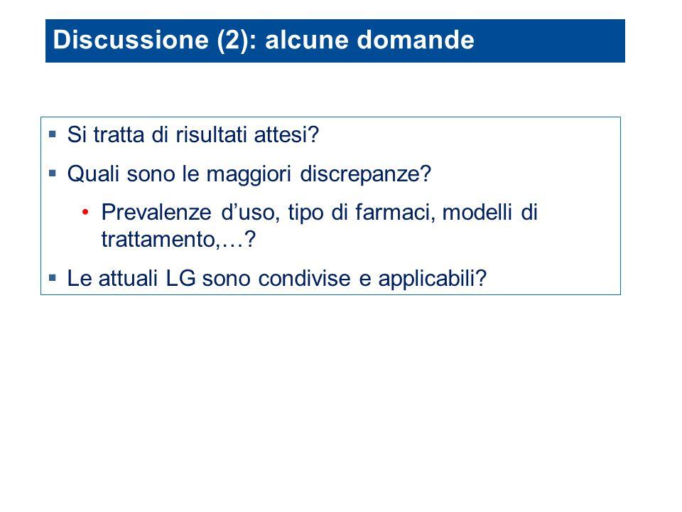 Discussione (2): alcune domande  Si tratta di risultati attesi?  Quali sono le maggiori discrepanze? Prevalenze d'uso, tipo di farmaci, modelli di t