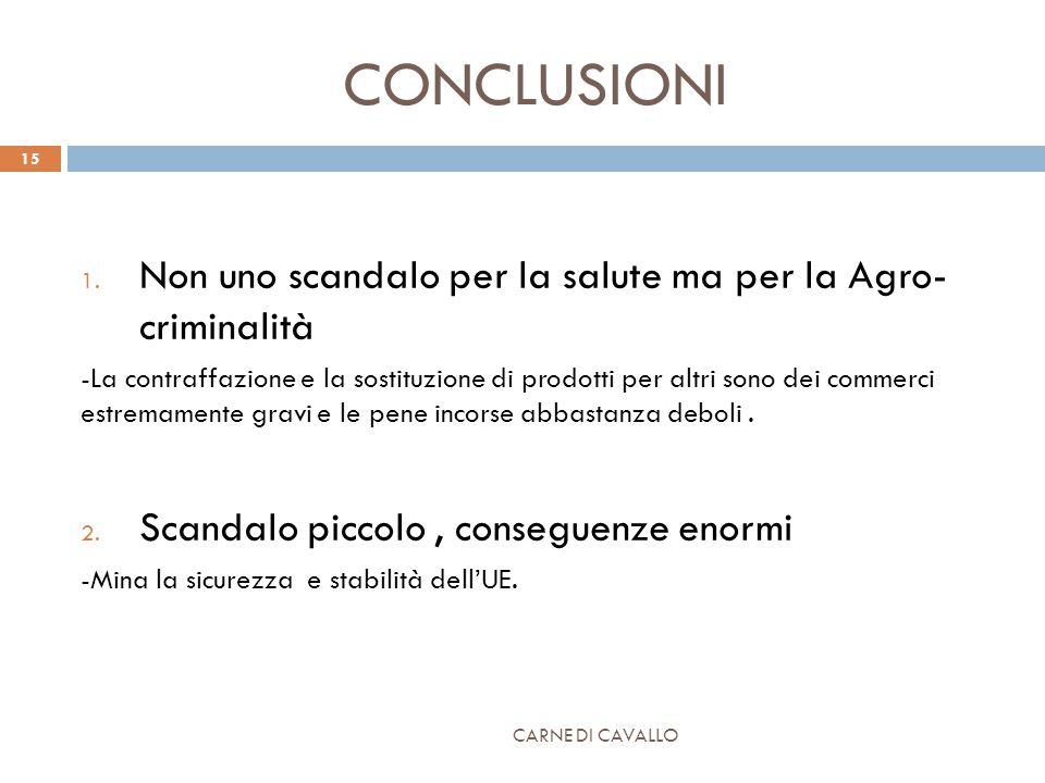 CONCLUSIONI 1. Non uno scandalo per la salute ma per la Agro- criminalità -La contraffazione e la sostituzione di prodotti per altri sono dei commerci