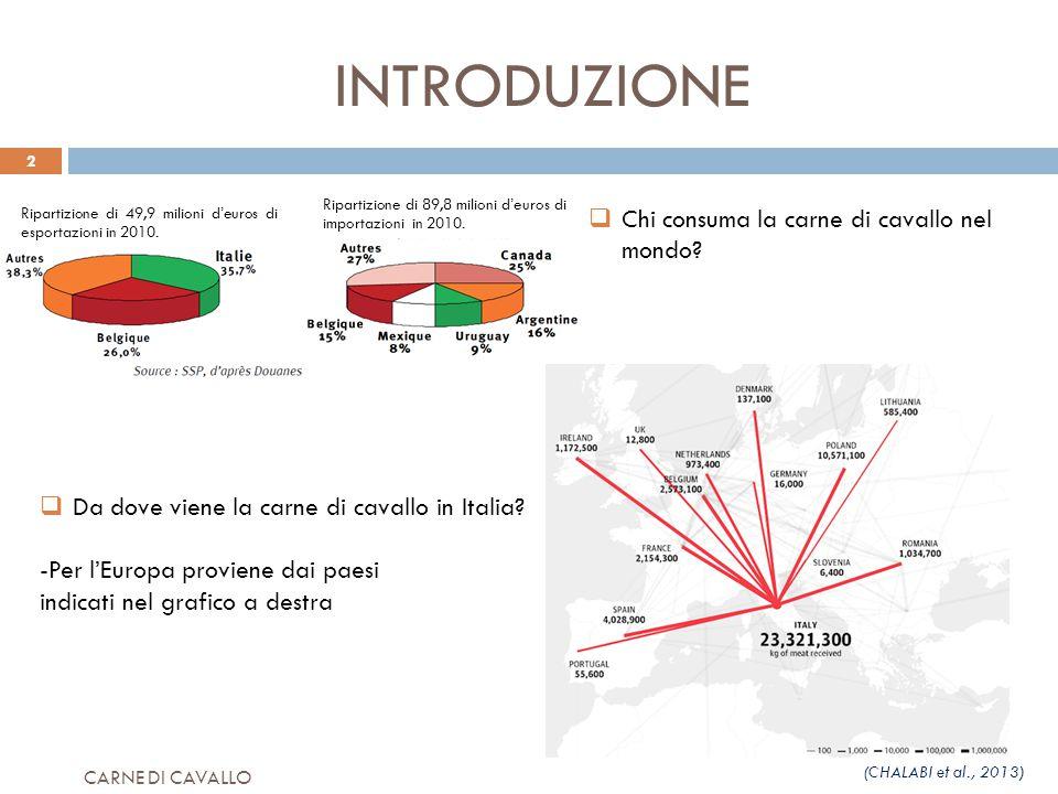 INTRODUZIONE  Da dove viene la carne di cavallo in Italia? -Per l'Europa proviene dai paesi indicati nel grafico a destra  Chi consuma la carne di c