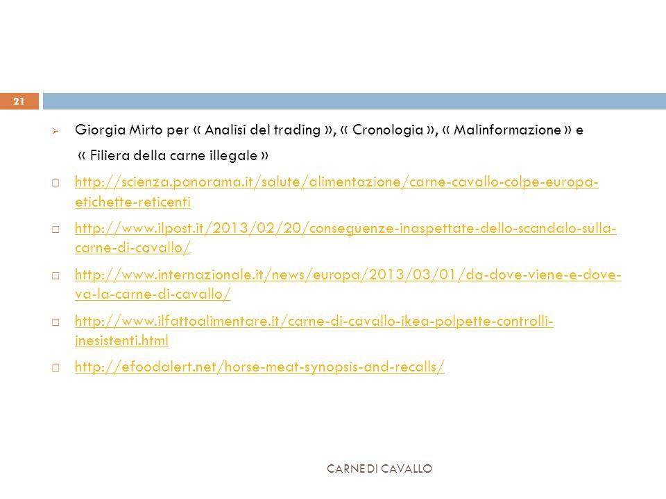 CARNE DI CAVALLO 21  Giorgia Mirto per « Analisi del trading », « Cronologia », « Malinformazione » e « Filiera della carne illegale »  http://scienza.panorama.it/salute/alimentazione/carne-cavallo-colpe-europa- etichette-reticenti http://scienza.panorama.it/salute/alimentazione/carne-cavallo-colpe-europa- etichette-reticenti  http://www.ilpost.it/2013/02/20/conseguenze-inaspettate-dello-scandalo-sulla- carne-di-cavallo/ http://www.ilpost.it/2013/02/20/conseguenze-inaspettate-dello-scandalo-sulla- carne-di-cavallo/  http://www.internazionale.it/news/europa/2013/03/01/da-dove-viene-e-dove- va-la-carne-di-cavallo/ http://www.internazionale.it/news/europa/2013/03/01/da-dove-viene-e-dove- va-la-carne-di-cavallo/  http://www.ilfattoalimentare.it/carne-di-cavallo-ikea-polpette-controlli- inesistenti.html http://www.ilfattoalimentare.it/carne-di-cavallo-ikea-polpette-controlli- inesistenti.html  http://efoodalert.net/horse-meat-synopsis-and-recalls/ http://efoodalert.net/horse-meat-synopsis-and-recalls/