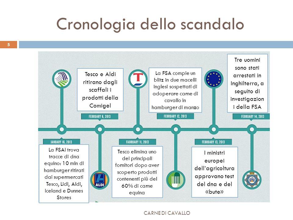 Cronologia dello scandalo CARNE DI CAVALLO 5 Tesco e Aldi ritirano dagli scaffali i prodotti della Comigel La FSA compie un blitz in due macelli ingle