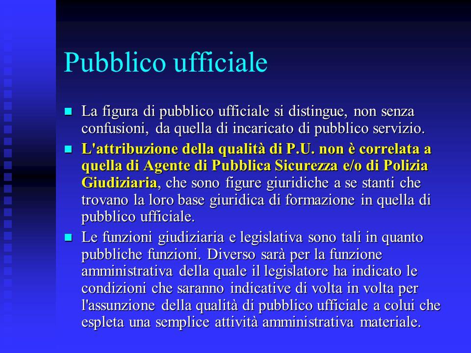 Pubblico ufficiale La figura di pubblico ufficiale si distingue, non senza confusioni, da quella di incaricato di pubblico servizio.