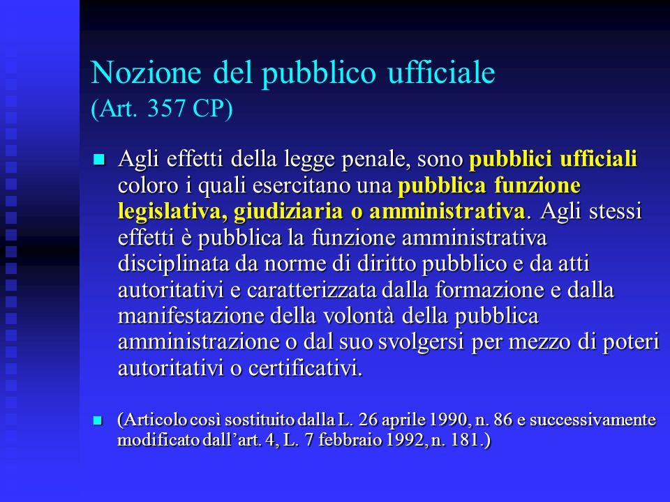 Nozione del pubblico ufficiale (Art. 357 CP) Agli effetti della legge penale, sono pubblici ufficiali coloro i quali esercitano una pubblica funzione
