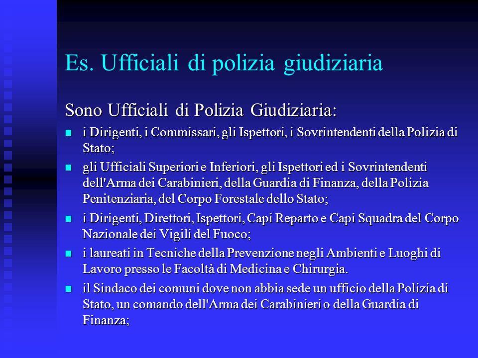 Es. Ufficiali di polizia giudiziaria Sono Ufficiali di Polizia Giudiziaria: i Dirigenti, i Commissari, gli Ispettori, i Sovrintendenti della Polizia d