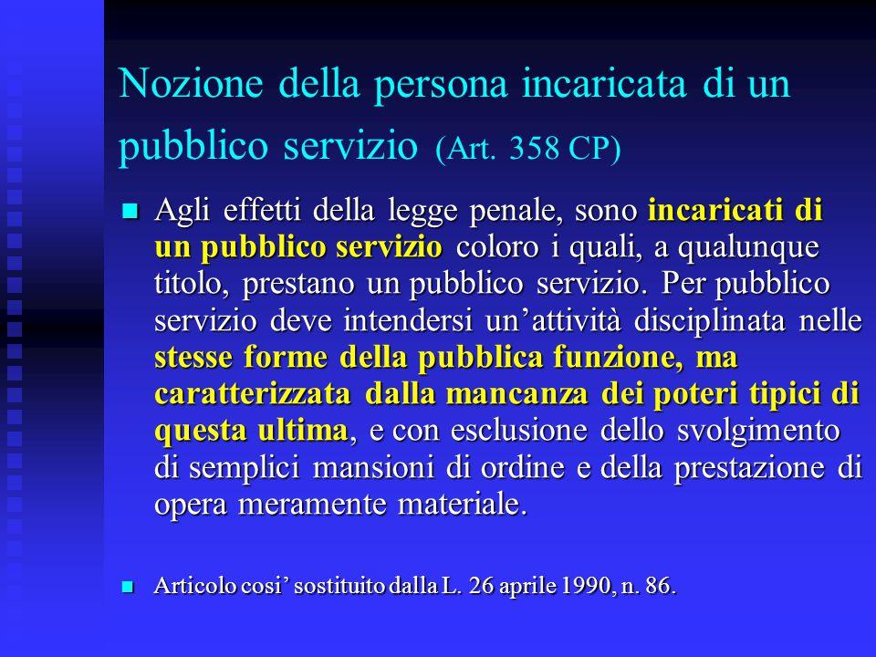 Nozione della persona incaricata di un pubblico servizio (Art. 358 CP) Agli effetti della legge penale, sono incaricati di un pubblico servizio coloro
