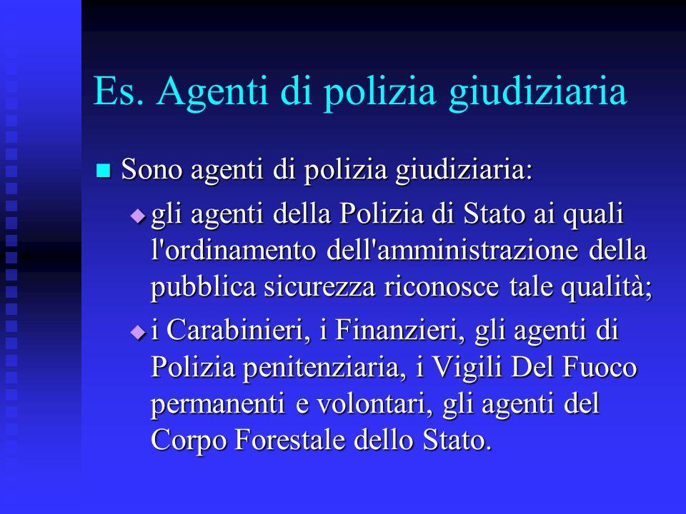 Es. Agenti di polizia giudiziaria Sono agenti di polizia giudiziaria: Sono agenti di polizia giudiziaria:  gli agenti della Polizia di Stato ai quali