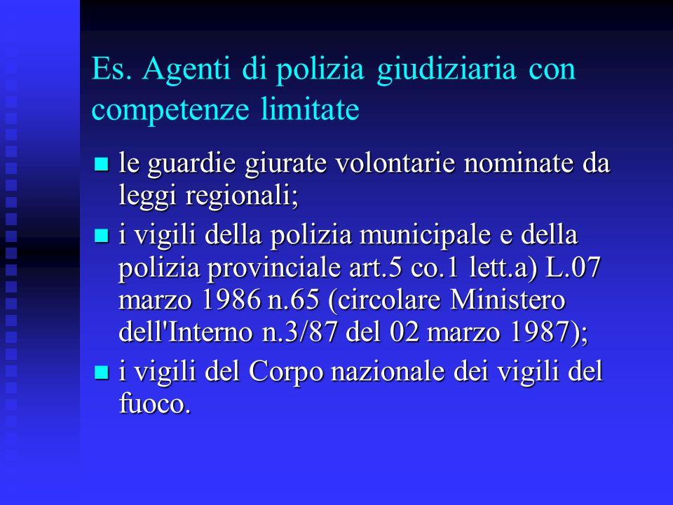 Es. Agenti di polizia giudiziaria con competenze limitate le guardie giurate volontarie nominate da leggi regionali; le guardie giurate volontarie nom