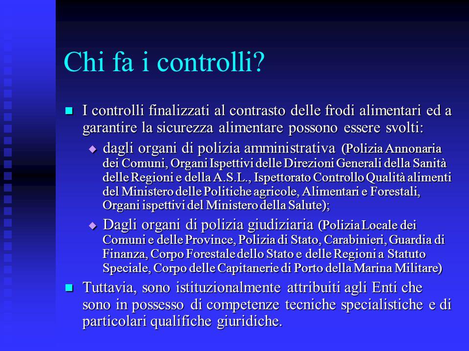 Chi fa i controlli? I controlli finalizzati al contrasto delle frodi alimentari ed a garantire la sicurezza alimentare possono essere svolti: I contro